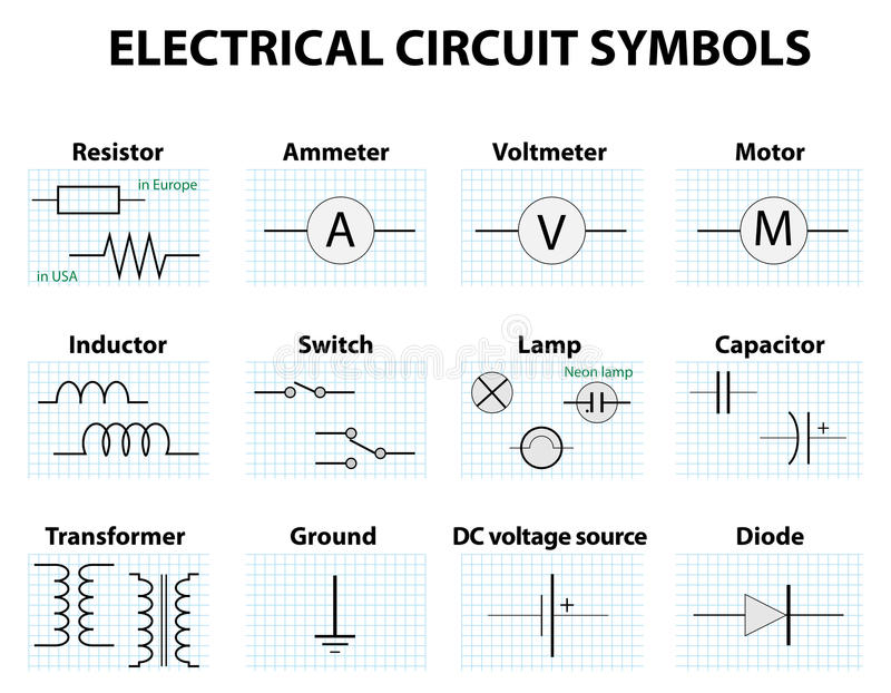 Common Circuit Diagram Symbols Stock Vector - Illustration of ...