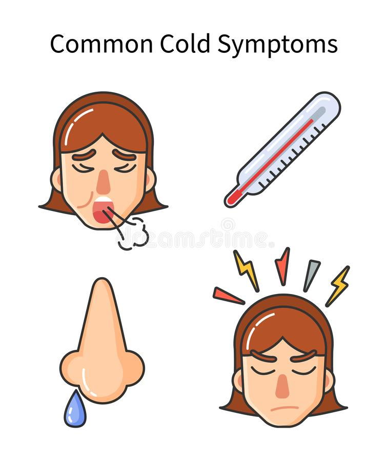 Common Cold Symptoms, Sick Girl Isolated Icons royalty free illustration