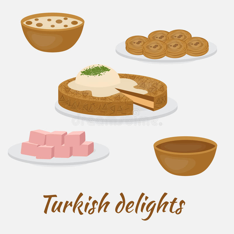 Common desserts. Turkish delights.Traditional food of Turkish cuisine. Middle East Food. Common desserts. Turkish delights.Traditional food of Turkish cuisine stock illustration