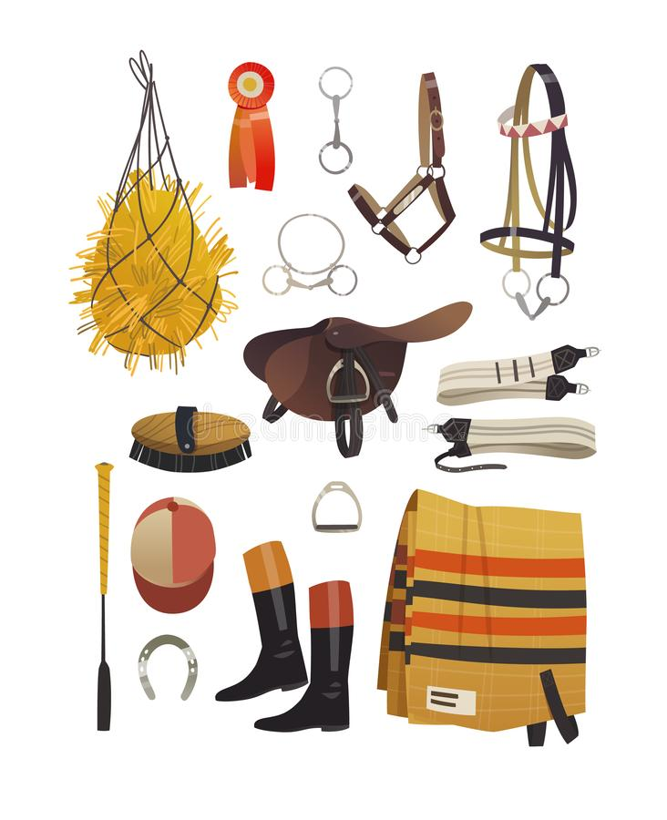Common equestrian harness for thoroughbred racing vector illustration