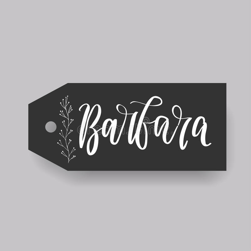 Common female first name on a tag. Hand drawn royalty free illustration