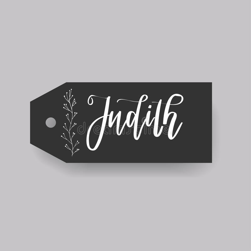 Common female first name on a tag. Hand drawn vector illustration