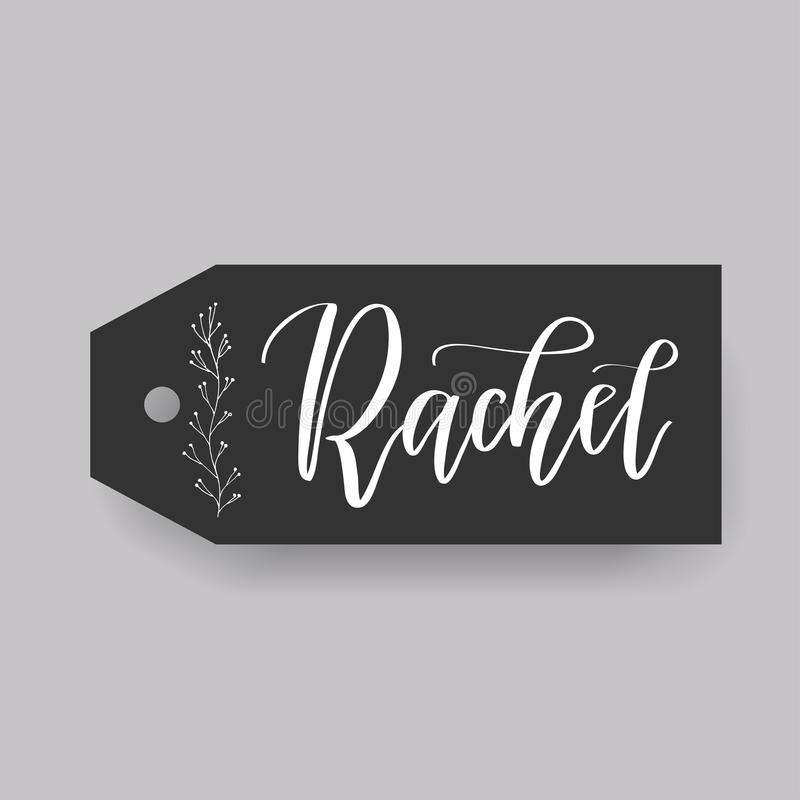 Common female first name on a tag. Hand drawn stock illustration