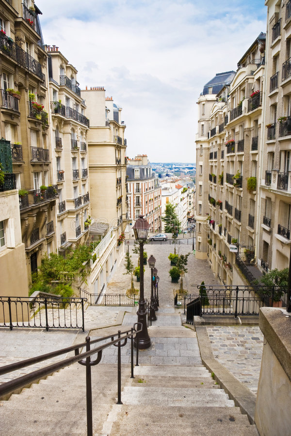 Common French street. With buildings stock image
