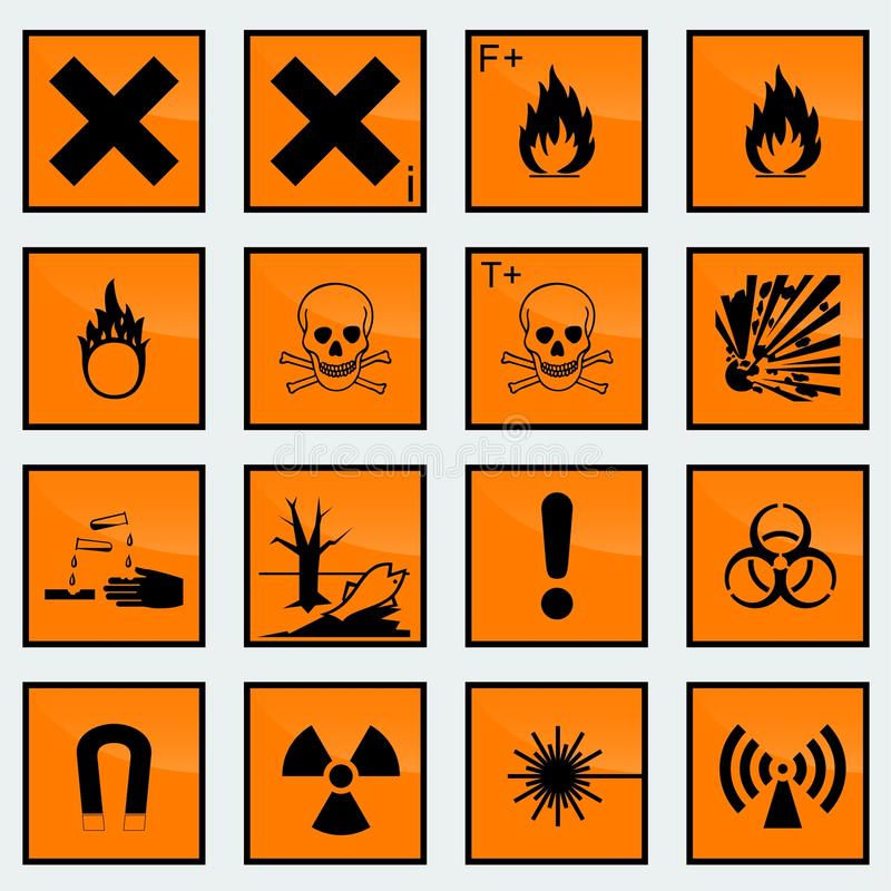 16 Common hazard sign vector illustration. vector illustration
