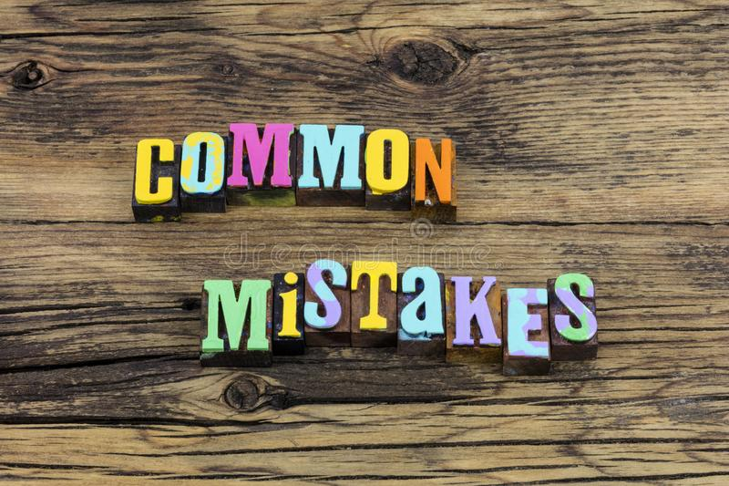 Common mistakes communication learn knowledge school typography phrase. Common mistakes and communication learn knowledge at school typography phrase letterpress stock images