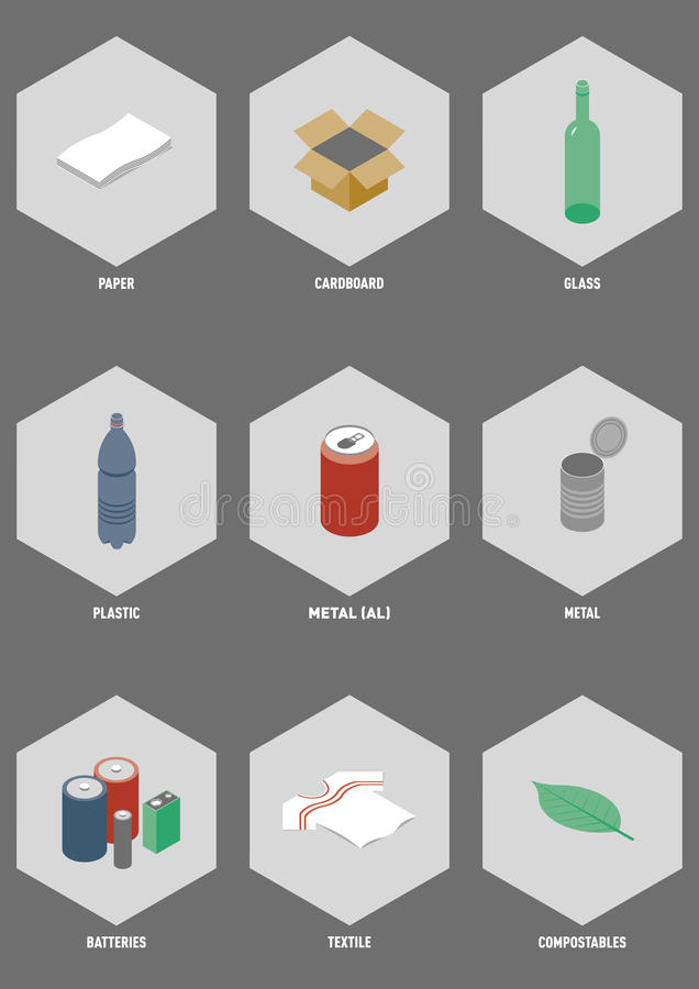Common Recyclable Materials. Isometric illustration set of the most common recyclable consumer waste royalty free illustration
