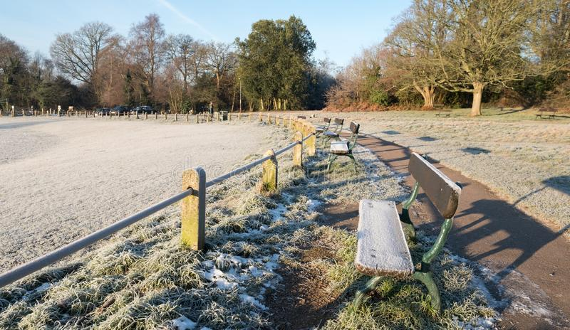 Tunbridge Well and Rusthall Commons, Royal Tunbridge Wells, Kent UK. Photographed in early morning on an icy winter`s day. royalty free stock photo