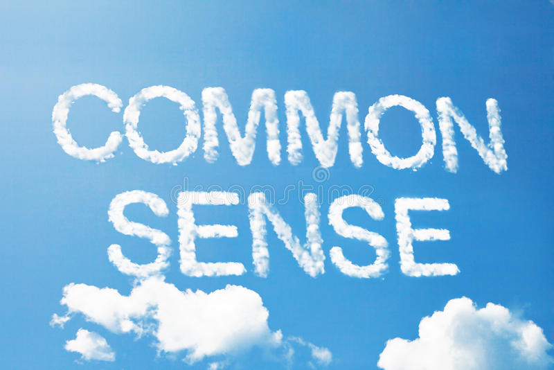 Common sense cloud word. Floating in the sky royalty free stock image