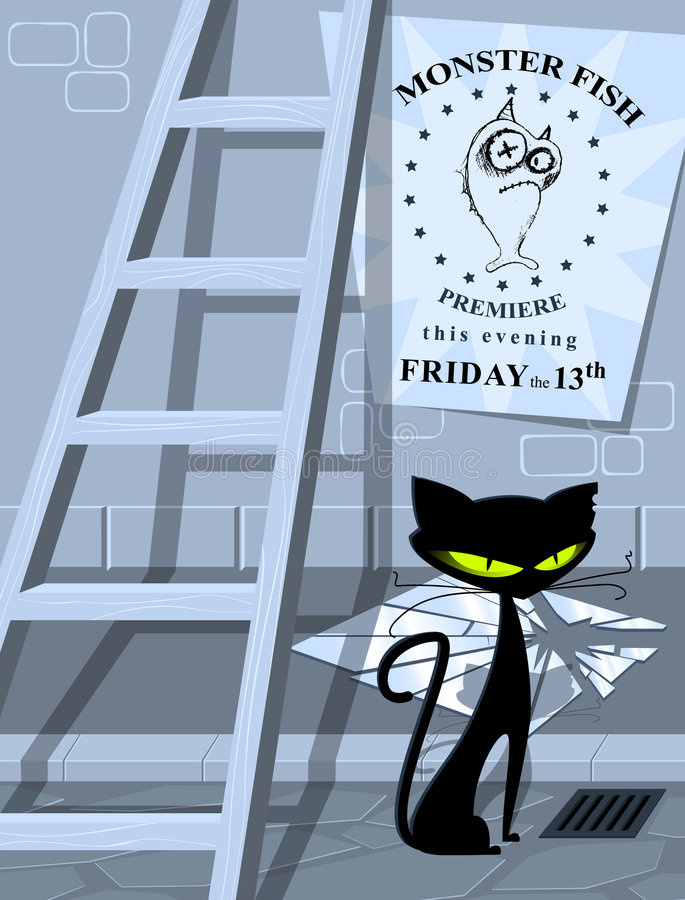 Common superstitions - bad luc stock illustration