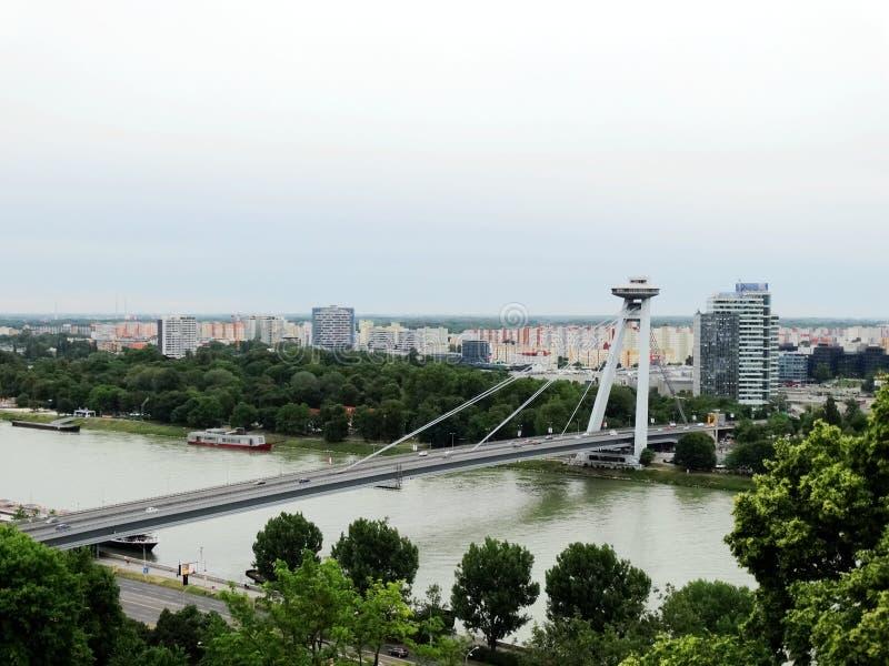 Bridge of the Slovak National Uprising over the Danube in Bratislava, the capital of Slovakia. stock images