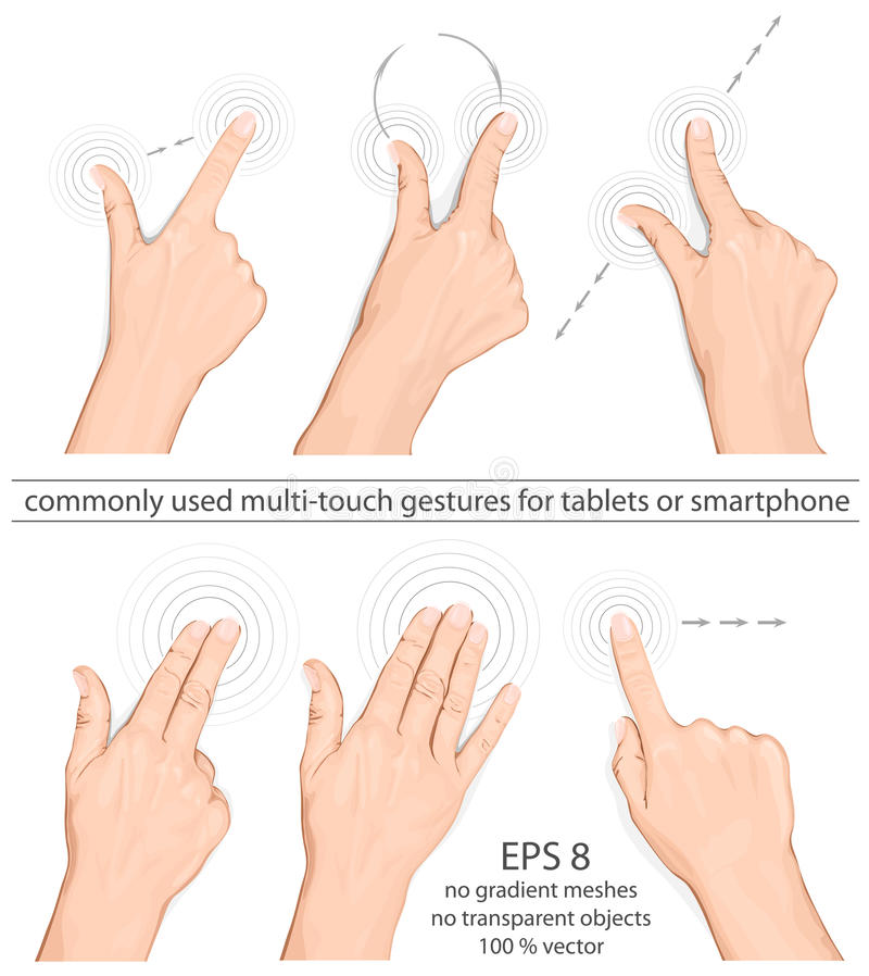 Commonly used multi-touch gestures stock illustration