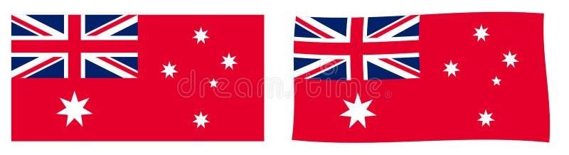 Commonwealth of Australia civil flag variant Australian Red Ens. Ign. Simple and slightly waving version vector illustration