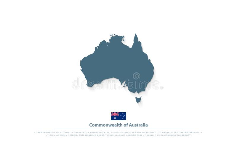 commonwealth of australia isolated map and official flag icons vector australian political maps aussie geographic banner template travel and business