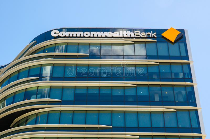 Commonwealth Bank of Australia, the image shows beautiful design glass windows of its office building at Darling harbour branch. SYDNEY, AUSTRALIA. – On royalty free stock photo