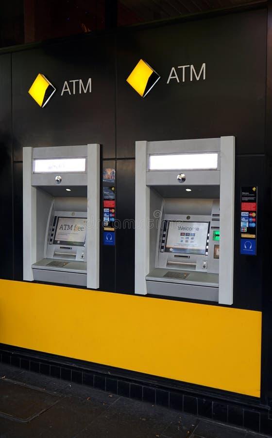 Commonwealth Bank Australia, jeden ` Big Four `, gałąź s przez kulę ziemską wliczając ten jeden i ATM `, w Bourke s zdjęcie royalty free