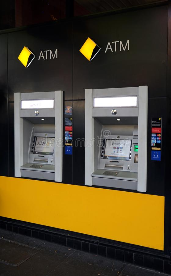 The Commonwealth Bank of Australia, one of the `Big Four`, has branches and ATM`s across the globe, including this one in Bourke s. Sydney, Australia - October royalty free stock photo