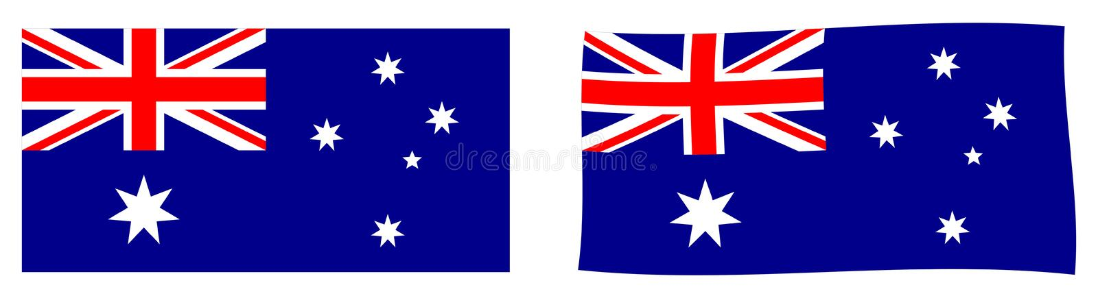 Commonwealth de drapeau d'Australie Versi simple et ondulant légèrement illustration stock