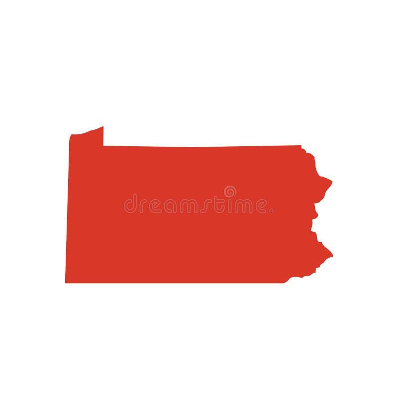 Commonwealth des Pennsylvania-Vektorkartenschattenbildes Penn, auch angerufen PA-Zustandsformikone EntwurfsHöhenlinienkarte von P lizenzfreie abbildung