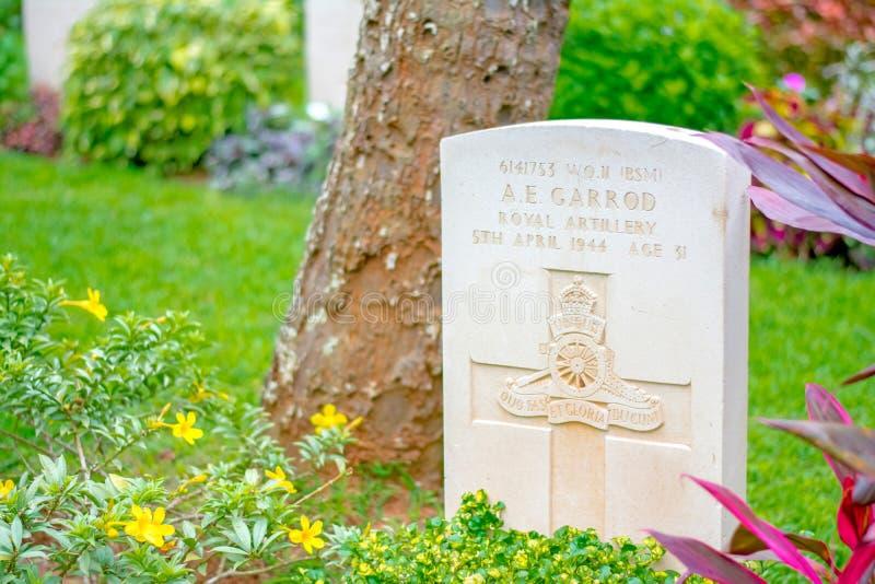 Commonwealth war cemetery In Sri Lanka. KANDY, SRI LANKA –AUGUST 14: Commonwealth war cemetery on August 14 2017 in Kandy, Sri Lanka. It is a British royalty free stock photo