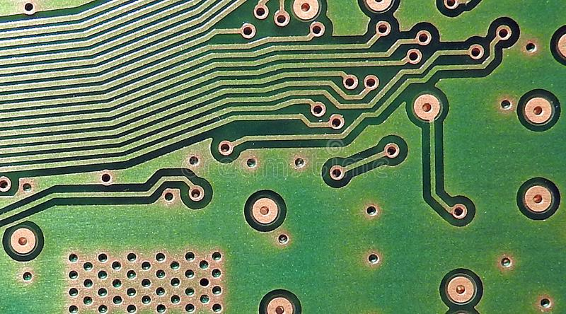 Comms switchboard pcb printed circuit board electronic points circuitry stock image