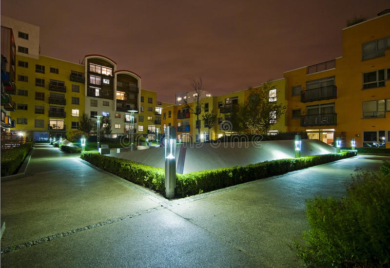 Communale tuin bij nacht royalty-vrije stock foto's