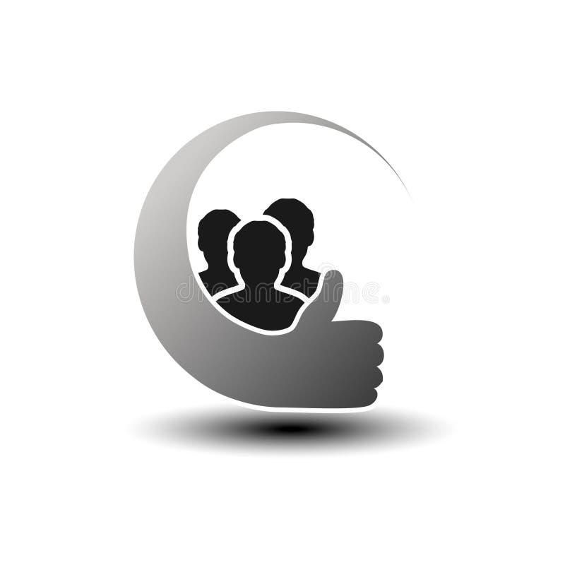 Communautaire zwarte symbolen Eenvoudige silhouetten van de mens met beste keusgebaar Profiel cirkeletiketten Teken van lid of ge vector illustratie