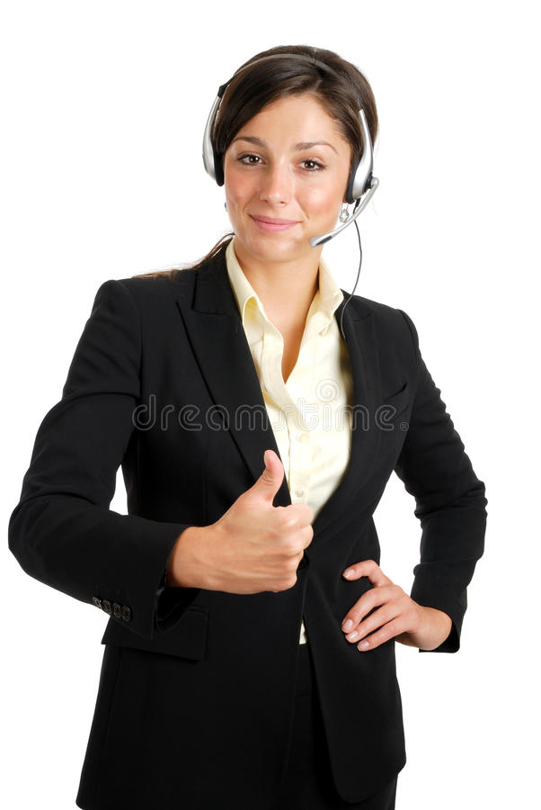 Communcations business woman giving thumbs up stock photo
