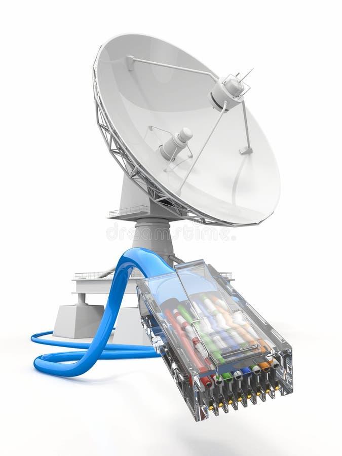 Communiation。 与电缆的卫星盘。 库存例证
