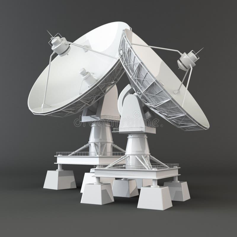 Communiation. Antena parabólica. 3d ilustração do vetor