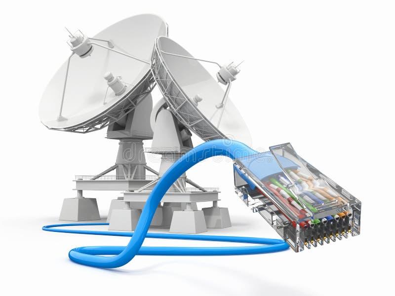 Communiation. Satellitenschüssel mit Seilzug. lizenzfreie abbildung