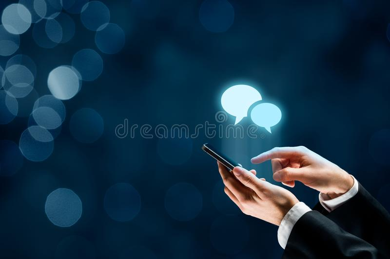 Communicate on smartphone royalty free stock image