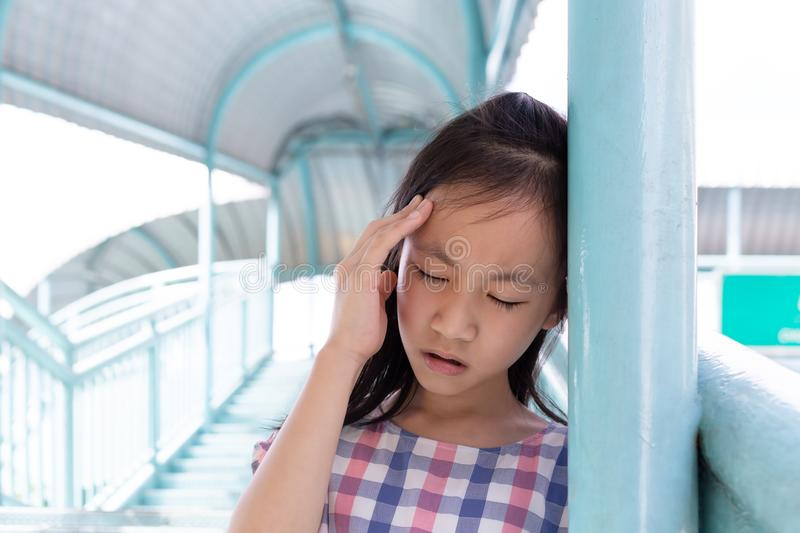 Communicates the symptoms of vertigo,dizziness,migraine,sick depressed girl suffering from headache,Asian girl on the pedestrian royalty free stock images