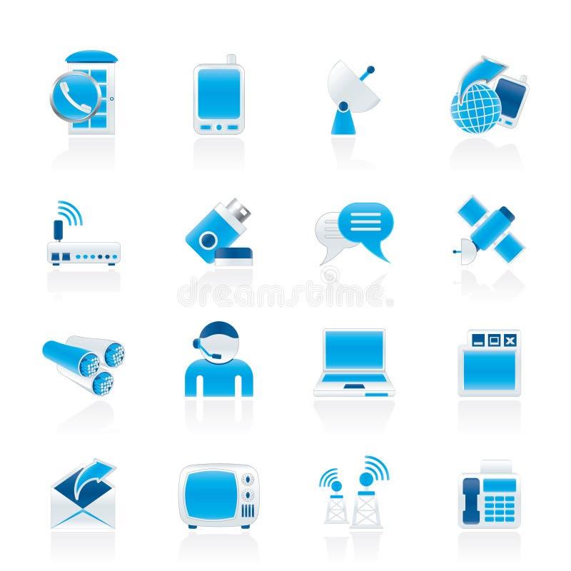 Communicatie, aansluting en technologiepictogrammen vector illustratie