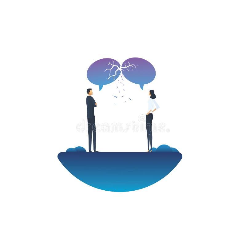 Communicatie analyse bedrijfs vectorconcept met zakenman en onderneemster het debatteren Symbool van argument stock illustratie
