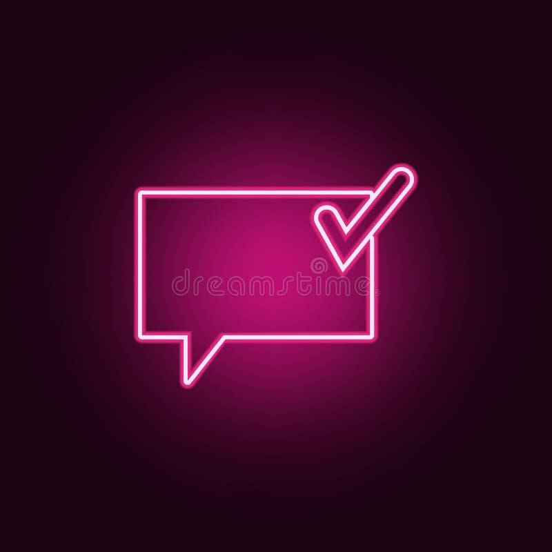 communicatie bellen met een teken o.k. pictogram Elementen van Web in de pictogrammen van de neonstijl Eenvoudig pictogram voor w royalty-vrije illustratie