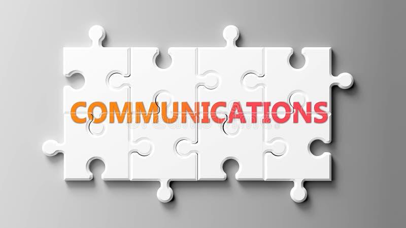 Communicatie complex zoals een puzzel - als woord Communicatie op een puzzelstukjes voorgesteld om te tonen dat de Mededelingen k vector illustratie