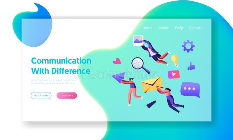 Communicatie Concept, Mensenholding in Handenenvelop, Document Vliegtuig, Foto Sociaal Media Voorzien van een netwerk, Internet-B stock illustratie