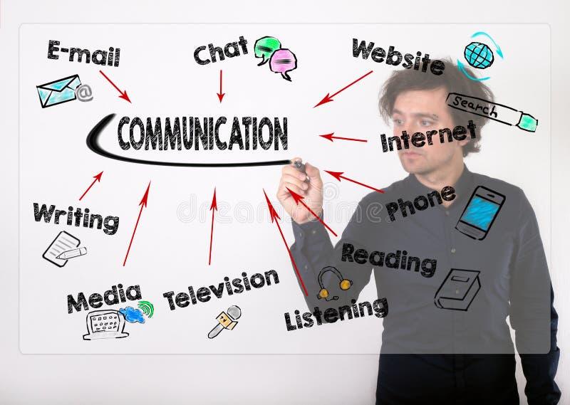 Communicatie concept Zakenman die met zwarte teller schrijven stock foto's