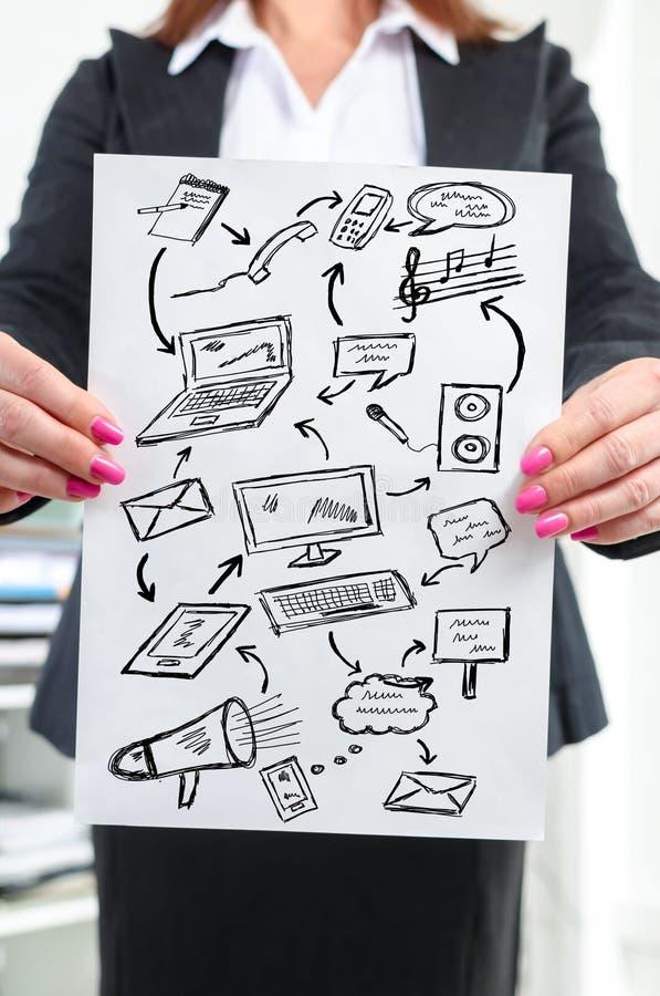 Communicatie die concept door een onderneemster wordt getoond stock fotografie