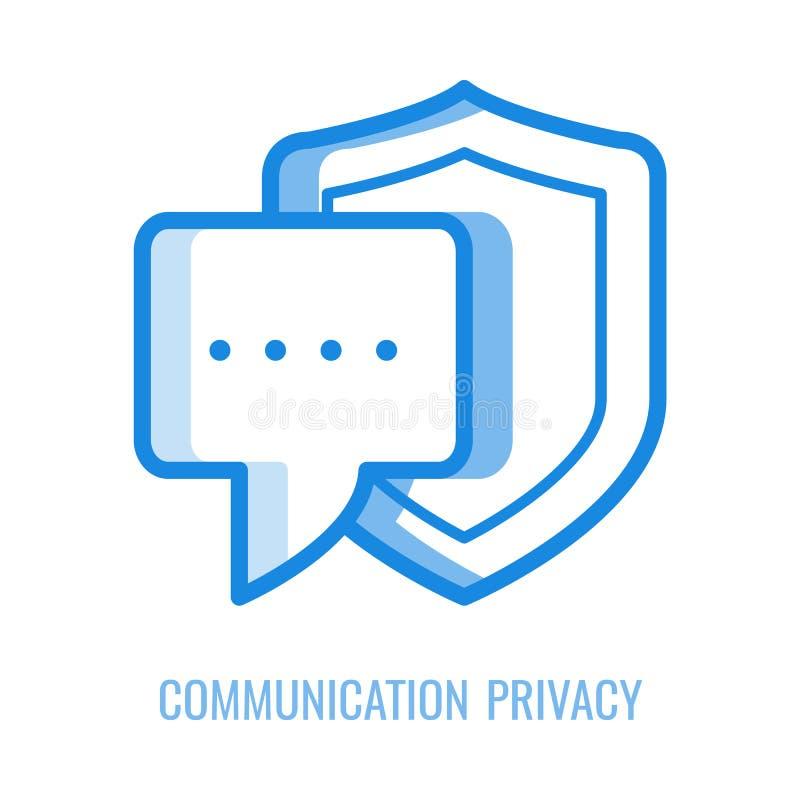 Communicatie die privacypictogram - toespraak of correspondentiebericht met schild wordt beschermd vector illustratie