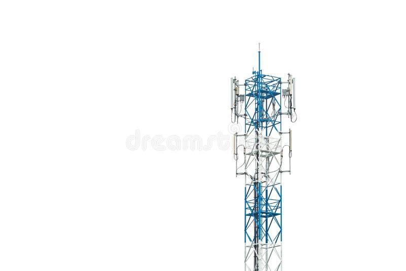 Communicatie die toren in Thailand op wit wordt geïsoleerd stock afbeelding