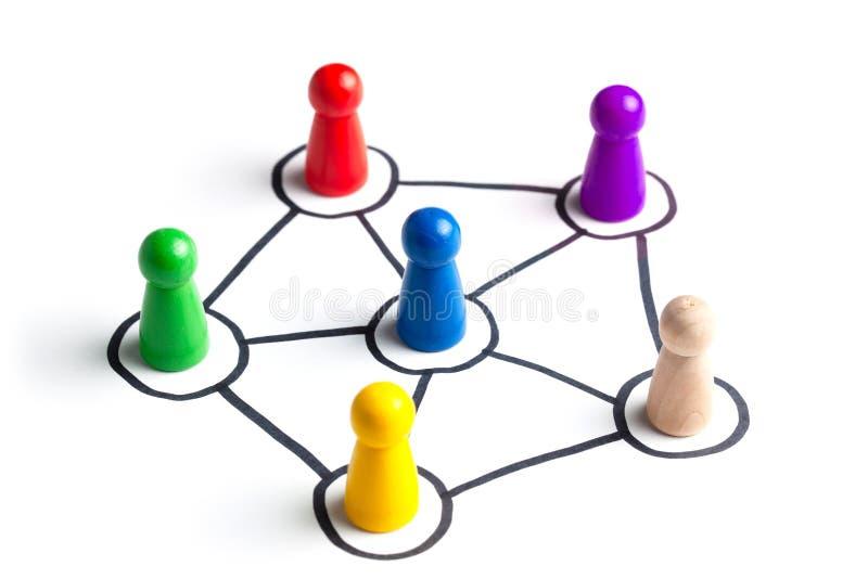 Communicatie in een commercieel team online en met elkaar Sociale verbindingen tussen mensen Teamcommunicatie met stock foto's