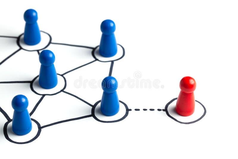 Communicatie in een commercieel team online en met elkaar Sociale verbindingen tussen mensen Teamcommunicatie met royalty-vrije stock afbeeldingen