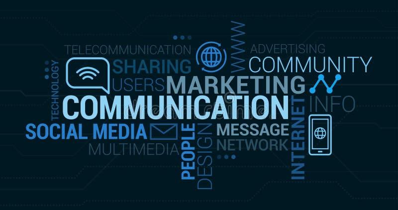 Communicatie en marketing markeringswolk stock illustratie