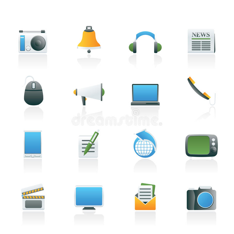 Communicatie en media pictogrammen stock illustratie