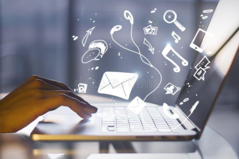 Communicatie en technologieconcept stock afbeeldingen