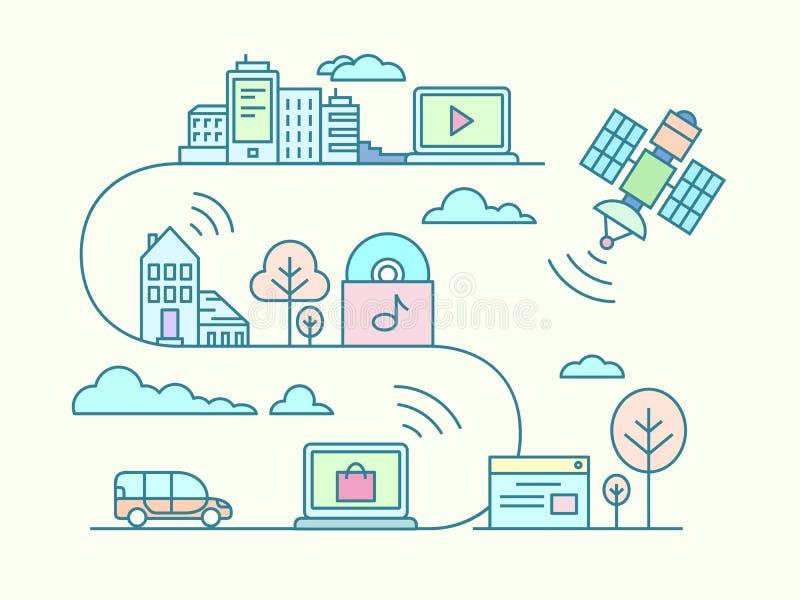 Communicatie en verbindingsconcept vector illustratie