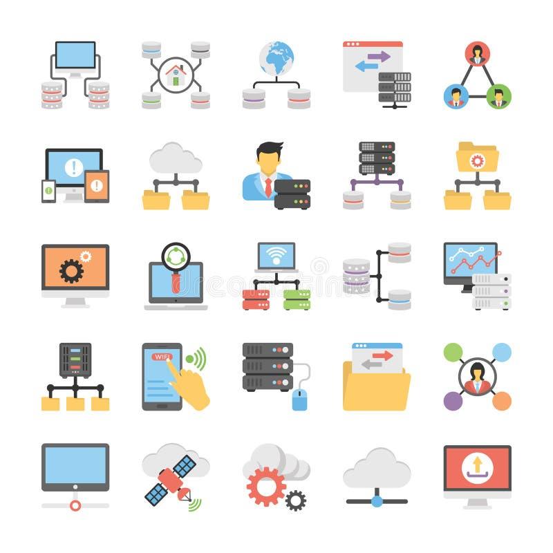 Communicatie en Voorzien van een netwerk Vlakke Vectorpictogrammen royalty-vrije illustratie