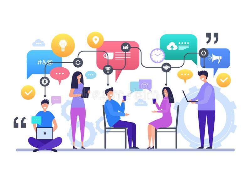 Communicatie mensen Het spreken het babbelen de globale sociale scène van het de karaktersconcept van de netwerkbespreking vector vector illustratie